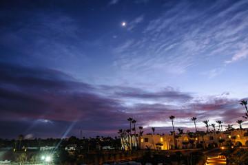 night in tropical location red sea palm purple sky nice sea