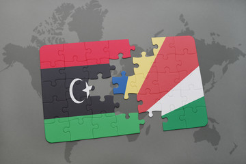 puzzle with the national flag of libya and seychelles on a world map