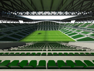 3D render of a large capacity soccer-football Stadium with an open roof and green seats