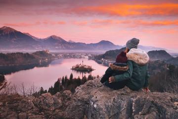 Family travel Europe. Bled Lake, Slovenia.