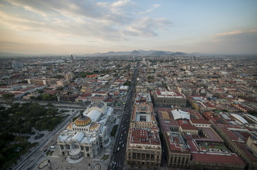 View from Torre Latinoamerica at dusk over Mexico City, Mexico, North America