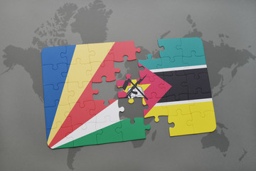 puzzle with the national flag of seychelles and mozambique on a world map