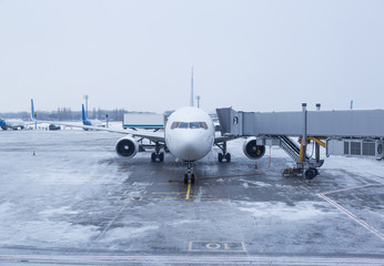 Airport operations during a cold winter day