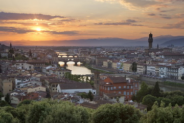 Florence cityscape with Ponte Vecchio and Palazzo Vecchio, Tuscany, Italy