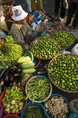 Fresh fruit and vegetables at Food market, Phnom Penh, Cambodia, Indochina, Southeast Asia, Asia