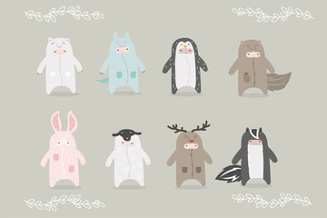 Set of cartoon characters in costumes  animals.
