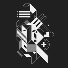 Abstract geometric element on black background. Useful for prints and posters.