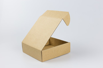 isolated yellow paper box on white background