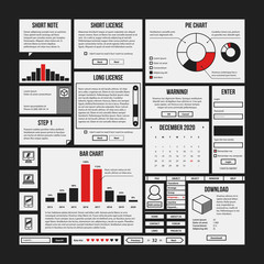 Set of infographics and interface elements in simple outline style. Useful for annual reports and web design.