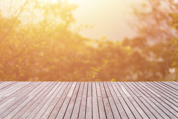 Empty top of wooden floor or decking and view of sunset or sunri