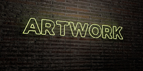 ARTWORK -Realistic Neon Sign on Brick Wall background - 3D rendered royalty free stock image. Can be used for online banner ads and direct mailers..