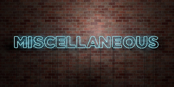 MISCELLANEOUS - fluorescent Neon tube Sign on brickwork - Front view - 3D rendered royalty free stock picture. Can be used for online banner ads and direct mailers..
