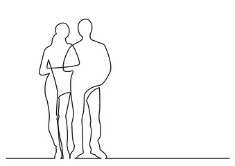 continuous line drawing of young couple standing