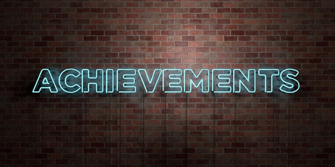 ACHIEVEMENTS - fluorescent Neon tube Sign on brickwork - Front view - 3D rendered royalty free stock picture. Can be used for online banner ads and direct mailers..