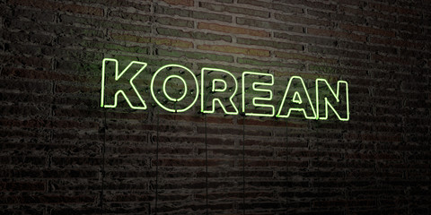 KOREAN -Realistic Neon Sign on Brick Wall background - 3D rendered royalty free stock image. Can be used for online banner ads and direct mailers..