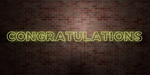 CONGRATULATIONS - fluorescent Neon tube Sign on brickwork - Front view - 3D rendered royalty free stock picture. Can be used for online banner ads and direct mailers..
