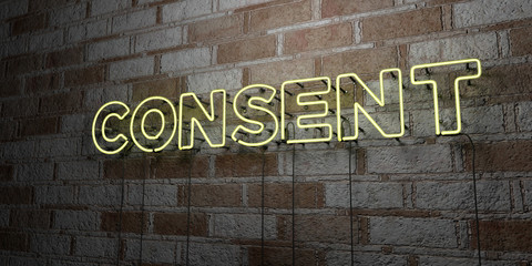 CONSENT - Glowing Neon Sign on stonework wall - 3D rendered royalty free stock illustration.  Can be used for online banner ads and direct mailers..