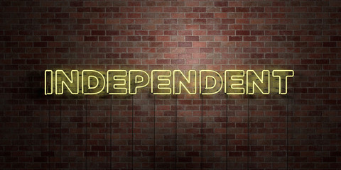 INDEPENDENT - fluorescent Neon tube Sign on brickwork - Front view - 3D rendered royalty free stock picture. Can be used for online banner ads and direct mailers.. Fotoväggar