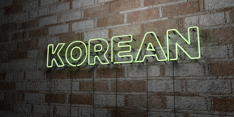 KOREAN - Glowing Neon Sign on stonework wall - 3D rendered royalty free stock illustration.  Can be used for online banner ads and direct mailers..