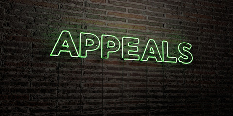 APPEALS -Realistic Neon Sign on Brick Wall background - 3D rendered royalty free stock image. Can be used for online banner ads and direct mailers..