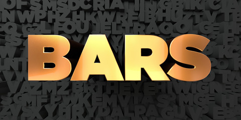 Bars - Gold text on black background - 3D rendered royalty free stock picture. This image can be used for an online website banner ad or a print postcard.