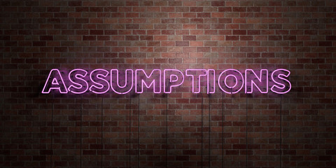 ASSUMPTIONS - fluorescent Neon tube Sign on brickwork - Front view - 3D rendered royalty free stock picture. Can be used for online banner ads and direct mailers..