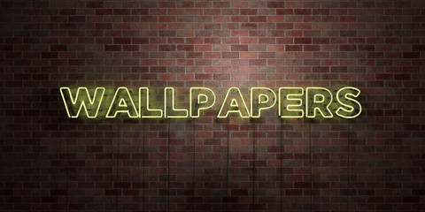 WALLPAPERS - fluorescent Neon tube Sign on brickwork - Front view - 3D rendered royalty free stock picture. Can be used for online banner ads and direct mailers..