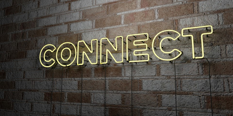 CONNECT - Glowing Neon Sign on stonework wall - 3D rendered royalty free stock illustration.  Can be used for online banner ads and direct mailers..