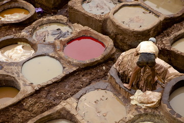 Tannery, Fes (Fez), Morocco, North Africa, Africa