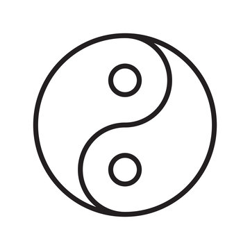 Yin yang symbol outline transparent vector