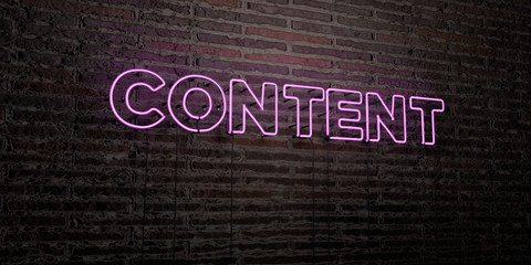 CONTENT -Realistic Neon Sign on Brick Wall background - 3D rendered royalty free stock image. Can be used for online banner ads and direct mailers..