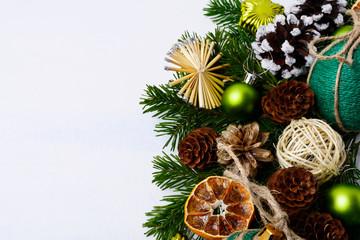 Christmas greeting background with handmade twine decorated baub