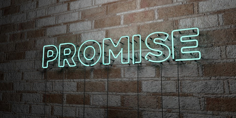 PROMISE - Glowing Neon Sign on stonework wall - 3D rendered royalty free stock illustration.  Can be used for online banner ads and direct mailers..