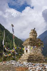Traditional old Buddhist stupa on Annapurna Circuit Trek in Hima