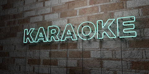 KARAOKE - Glowing Neon Sign on stonework wall - 3D rendered royalty free stock illustration.  Can be used for online banner ads and direct mailers..