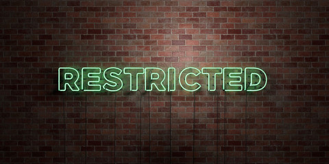 Restricted photos royalty free images graphics vectors videos restricted fluorescent neon tube sign on brickwork front view 3d rendered royalty free ccuart Image collections