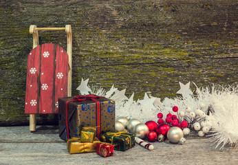 Christmas gift boxes and sleigh