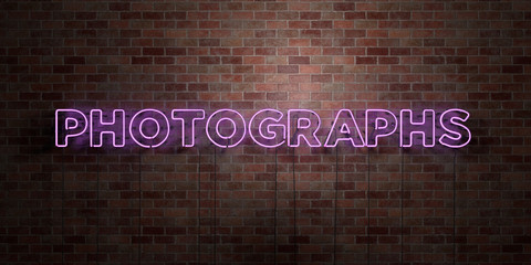 PHOTOGRAPHS - fluorescent Neon tube Sign on brickwork - Front view - 3D rendered royalty free stock picture. Can be used for online banner ads and direct mailers..