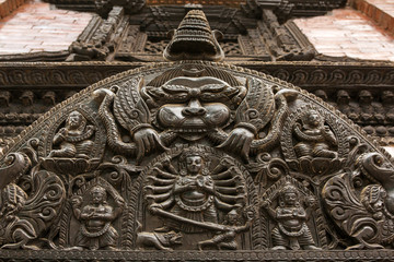 Carved statues on the Durbar Square in Kathmandu Nepal