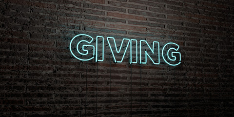GIVING -Realistic Neon Sign on Brick Wall background - 3D rendered royalty free stock image. Can be used for online banner ads and direct mailers..