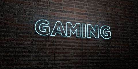 GAMING -Realistic Neon Sign on Brick Wall background - 3D rendered royalty free stock image. Can be used for online banner ads and direct mailers..
