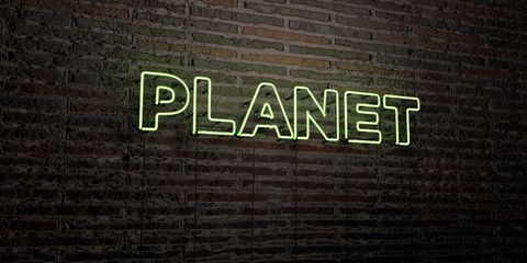 PLANET -Realistic Neon Sign on Brick Wall background - 3D rendered royalty free stock image. Can be used for online banner ads and direct mailers..