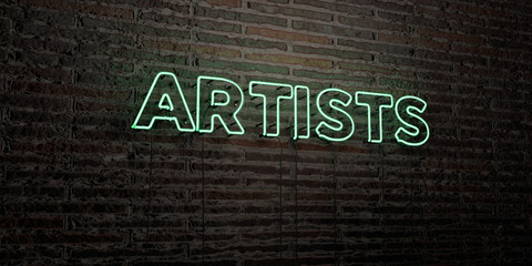 ARTISTS -Realistic Neon Sign on Brick Wall background - 3D rendered royalty free stock image. Can be used for online banner ads and direct mailers.. Wall mural