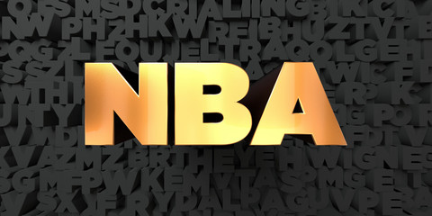Nba - Gold text on black background - 3D rendered royalty free stock picture. This image can be used for an online website banner ad or a print postcard.