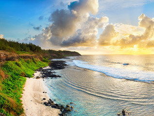 Beautiful beach at sunrise. Panorama
