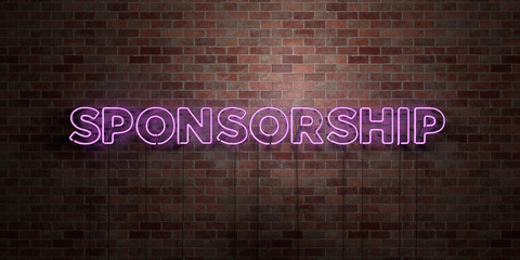 SPONSORSHIP - fluorescent Neon tube Sign on brickwork - Front view - 3D rendered royalty free stock picture. Can be used for online banner ads and direct mailers..