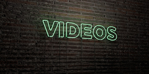 VIDEOS -Realistic Neon Sign on Brick Wall background - 3D rendered royalty free stock image. Can be used for online banner ads and direct mailers..