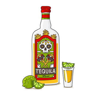 Bottle of tequila with lime