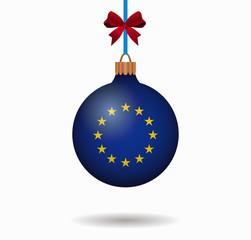 isolated christmas ball european union