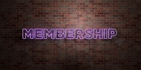 MEMBERSHIP - fluorescent Neon tube Sign on brickwork - Front view - 3D rendered royalty free stock picture. Can be used for online banner ads and direct mailers..